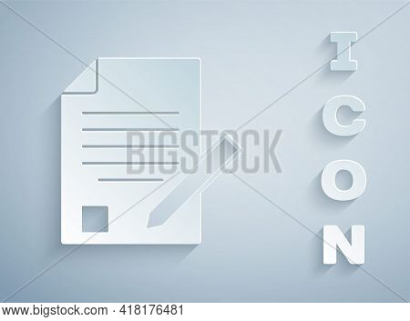 Paper Cut Exam Sheet And Pencil With Eraser Icon Isolated On Grey Background. Test Paper, Exam, Or S