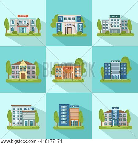 Square City Buildings Icon Set With Shadows Isolated And Flat Different Types Of Buildings Vector Il