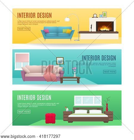 Furniture Horizontal Banners Set With Design Of Fireplace Lounge And Bedroom Interiors Isolated Vect