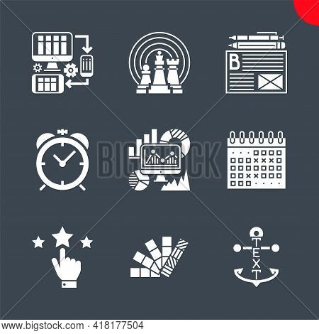 Seo Related Vector Glyph Icons. Colors, Reputation, Events Calendar, Seo Monitoring, Internet Market