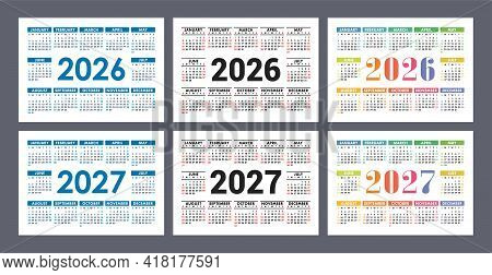 Calendar 2026 And 2027 Years. English Colorful Vector Set. Horizontal Wall Or Pocket Calender Templa