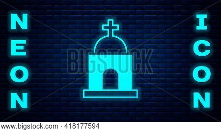 Glowing Neon Old Crypt Icon Isolated On Brick Wall Background. Cemetery Symbol. Ossuary Or Crypt For