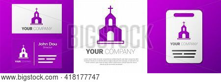 Logotype Church Building Icon Isolated On White Background. Christian Church. Religion Of Church. Lo
