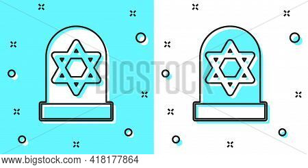 Black Line Tombstone With Star Of David Icon Isolated On Green And White Background. Jewish Grave St