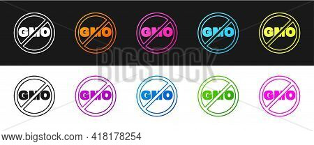 Set No Gmo Icon Isolated On Black And White Background. Genetically Modified Organism Acronym. Dna F
