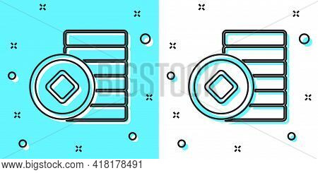 Black Line Chinese Yuan Currency Symbol Icon Isolated On Green And White Background. Coin Money. Ban