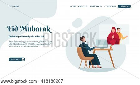 Vector Illustration Of Eid Mubarak Online For Landing Page Or Web Banner With The Concept Of Family