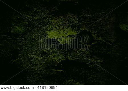 Dark Green Texture, Old Cracked Wall. Vignette. Backgrounds Texture