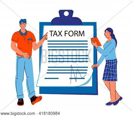 Tax Consultation Banner With People Standing Next To Tax Form Document, Cartoon Vector Illustration.