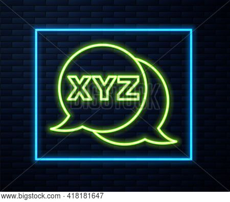 Glowing Neon Line Xyz Coordinate System Icon Isolated On Brick Wall Background. Xyz Axis For Graph S