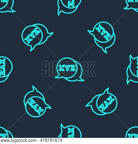 Green Line Xyz Coordinate System Icon Isolated Seamless Pattern On Blue Background. Xyz Axis For Gra
