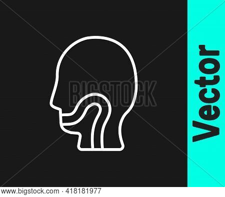 White Line Sore Throat Icon Isolated On Black Background. Pain In Throat. Flu, Grippe, Influenza, An