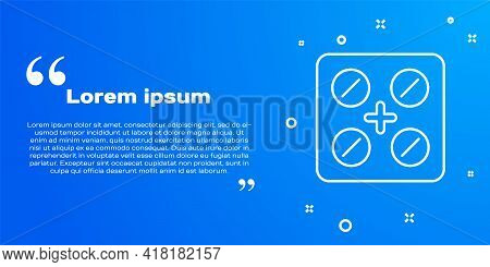 White Line Pills In Blister Pack Icon Isolated On Blue Background. Medical Drug Package For Tablet,