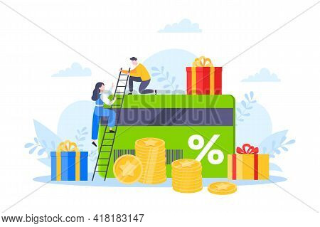 Get Loyalty Card And Customer Service Business Concept Flat Design Vector Illustration. Earn Loyalty