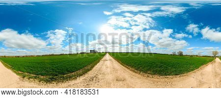 A Walk Along The Open Land Of The British Countryside, During Spring Time With The Sun Shining. The