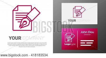 Logotype Line Exam Sheet And Pencil With Eraser Icon Isolated On White Background. Test Paper, Exam,