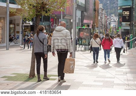 Andorra La Vella : 2021 April 24 : Andorra City Center La Vella, The Capital Of Andorra In The Covid