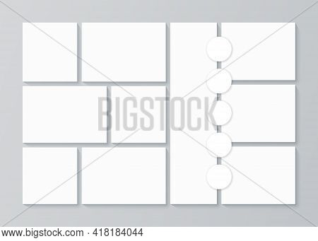 Moodboard Template. Photo Collage. Vector. Mood Board Design. Pictures Grid With Circles. Mosaic Fra