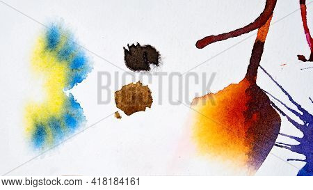 Bright Watercolor Blots On Watercolor Paper. Abstract Hand Drawn Backdrop. Colorful Abstract Waterco