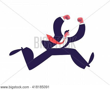Active Jumping Young Man In A Suit. Successful Businessman Jumping In A Dark Suit With A Red Tie. Ve