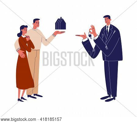 A Happy Young Couple Decided To Buy, Rent A House With The Help Of A Realtor, Real Estate Agent. A Y
