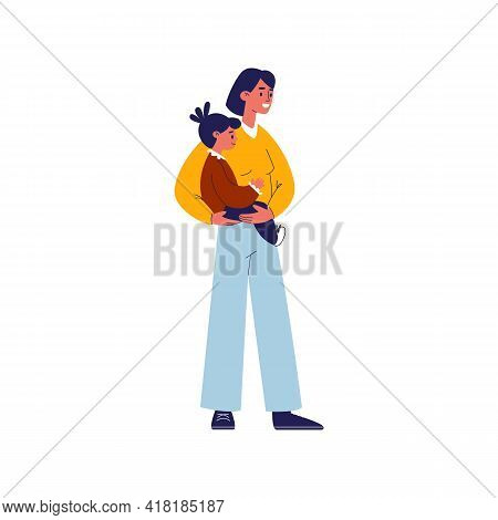 Mom And Daughter. Young Mother With Her Daughter. Mother In Casual Clothes Holds Her Little Child In
