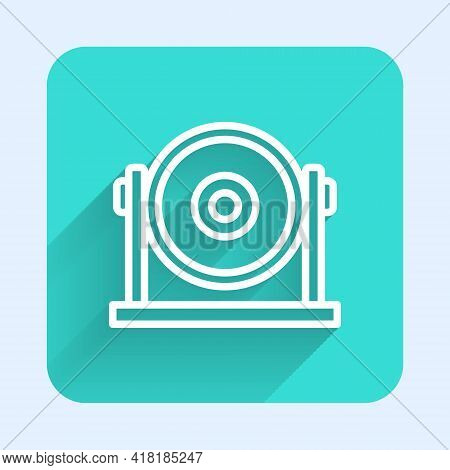 White Line Gong Musical Percussion Instrument Circular Metal Disc Icon Isolated With Long Shadow. Gr