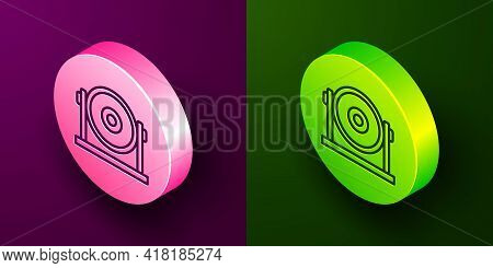 Isometric Line Gong Musical Percussion Instrument Circular Metal Disc Icon Isolated On Purple And Gr