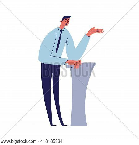A Young Man In A Shirt Is Telling A Story While Leaning His Elbows On The Podium. The Lecturer Is Gi