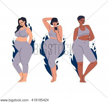 Women Of Diverse Looks, Different Skin Colors. Multicultural Female Characters In A Gray Tight-fitti