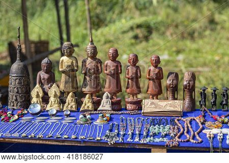 Handmade Souvenirs In A Tourist Stall On The Street Market Near Inle Lake In Burma. Close Up. Souven