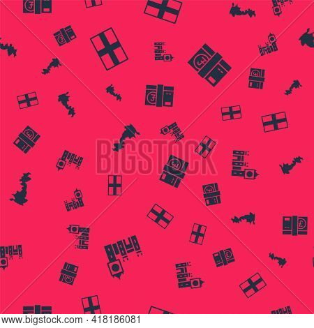Set Big Ben Tower, Flag Of England, Map And Pound Sterling Money On Seamless Pattern. Vector