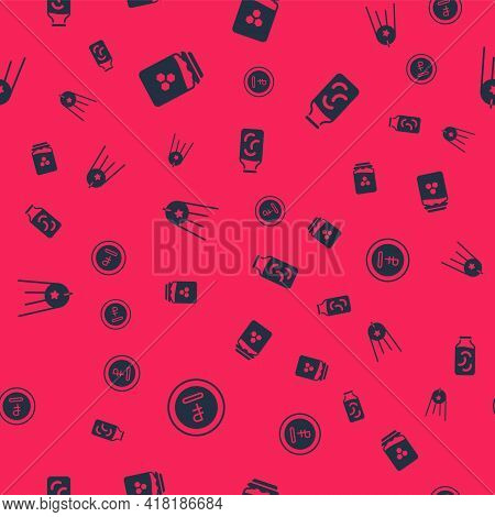 Set Rouble, Ruble Currency, Jar Of Honey, Satellite And Pickled Cucumbers In Jar On Seamless Pattern