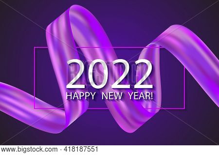 2022 Happy New Year Card With Colorful Violet Gradient Ribbon Design Element. Vector Eps10 Design. P