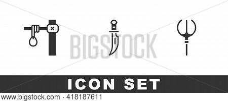 Set Gallows, Dagger And Neptune Trident Icon. Vector