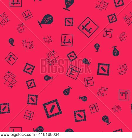 Set Board Game, Chess, Tic Tac Toe And Bingo On Seamless Pattern. Vector