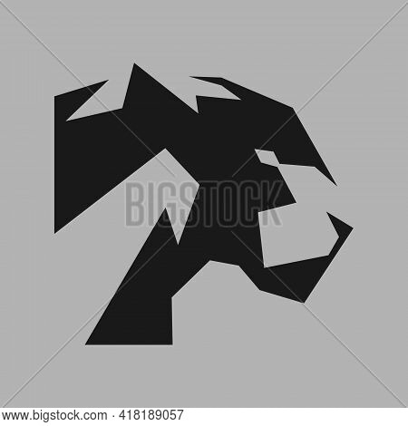 Abstract Black Panther Portrait Side View Symbol On Gray Backdrop. Design Element