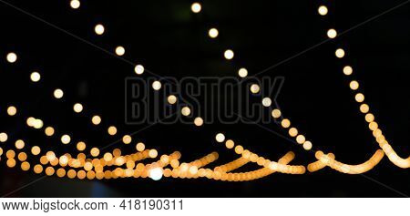 Blur Decorative Lights Bokeh Colorful For Background, Decorative String Lights Outdoor At Night Time