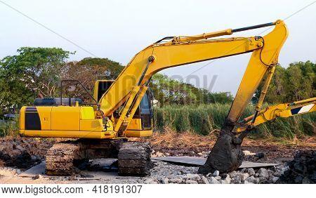 Backhoe, Backhoe Tractor Yellow Dig Scoop At Construction Site