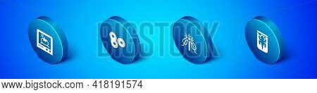 Set Isometric 3d Printing Technology, Experimental Insect, Animal And Cell Division Icon. Vector