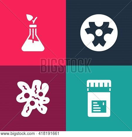 Set Pop Art Jar With Additives, Cell, Biohazard Symbol And Plant Breeding Icon. Vector