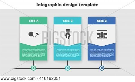 Set Ball On Chain, Fountain Pen Nib And Prisoner. Business Infographic Template. Vector