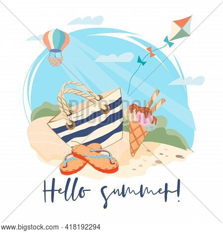 Hello Summer Banner Or Poster Template With Beach Accessories And Ice Cream On Seashore Sand. Summer
