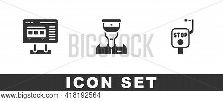Set Ticket Office To Buy Tickets, Train Conductor And Emergency Brake Icon. Vector