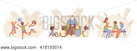 Flat Child Protection Composition Icon Set With Company Plays Ball Children Listen To Stories From T