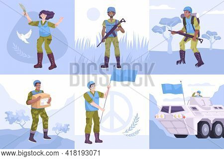 Flat Peacekeepers Composition Icon Set Military People With A Blue Flag With Weapons To Protect Civi