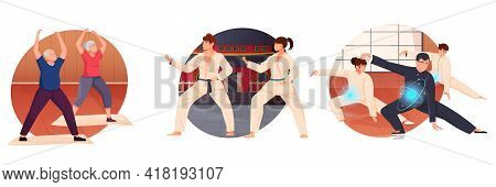 Time For Sport Flat Icons Set Of Old And Young People Executing Qigong Exercises Or Training In Mart
