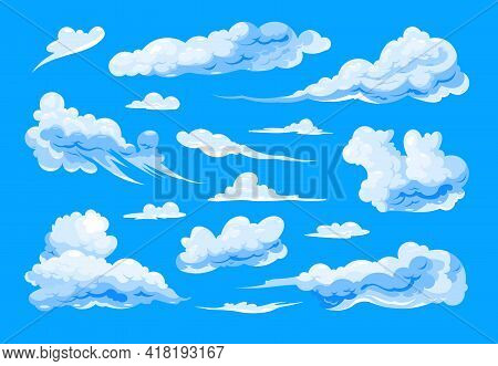 Set Of Different Shapes Cirrus And Cumulus Isolated Cartoon Clouds On Blue Background Flat Vector Il