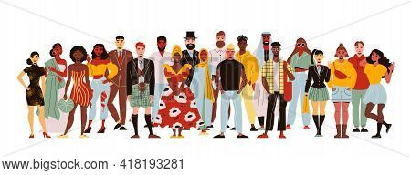 Nationality People Crowd Composition With Human Characters Of People Of Colour Standing All Together