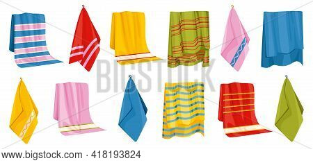 Towel Bath Set Of Isolated Icons With Images Of Hanging Bathing Towels With Various Colorful Pattern